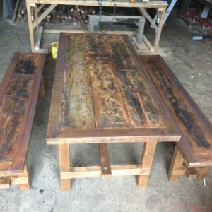 Industrial furniture table and benches